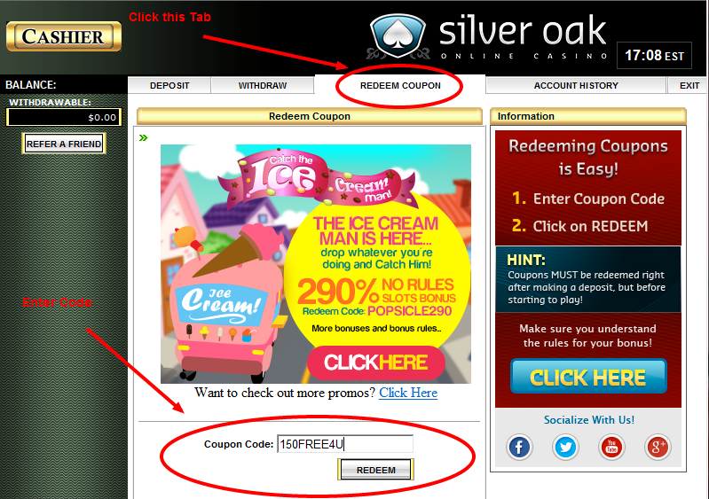 No Deposit Bonus Codes Silver Oak